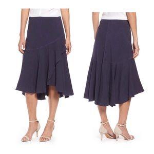 NIC+ZOE Homebound Linen Blend Navy Skirt/8P/NWT